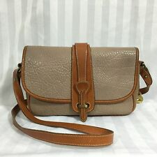 Vtg Dooney & Bourke Taupe AWL Equestrian Bag All Weather Leather