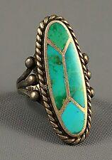 RaRe C. 1950 Navajo UITA 22 Sterling Silver BLUE GEM Turquoise Inlay Ring Sz 7