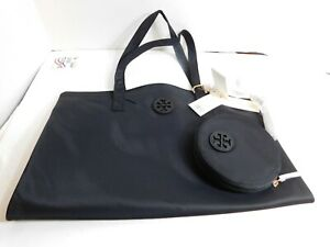TORY BURCH - Brand new set of nylon black tote and a small pouch