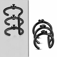 Black Color Plated Stainless Steel Cross Triple Hoop Cartilage Ear Cuff QFX217