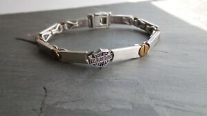 Harley Davidson Sterling Silver Chains and Bolts Bracelet 7 inch Fold-Over Clasp