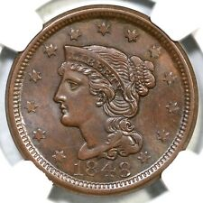 1848 N-41 NGC MS 64 BN Braided Hair Large Cent Coin 1c