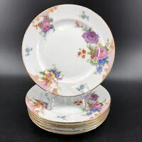"Epiag China Czechoslovakia BRIDAL ROSE 5522 7 1/2"" Salad Dessert Plates Set of 6"