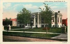 Grand Forks ND~Carnegie Public Library~Brick Road~Trolley Tracks~Gone Now~1930s