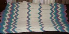 "X-Large Crocheted Afghan, 45""X77"", Ripple Design Cream/Blue/Min Green/Dusty Rose"