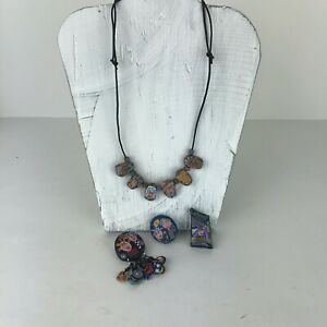 Collection of Polymer Clay Hand Crafted Pins and Necklace - Lot of 4 Art-A-Fax