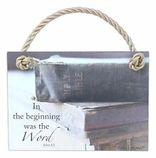 "IN THE BEGINNING WAS THE WORD Holy Bible Rope Plaque, 5"" x 7"""