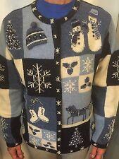 Talbots Christmas Sweater Cardigan Blue White Size S EUC