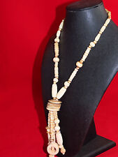 Vintage Cattle Bovine Bone Beaded Necklace, Polished Stones, Carved Beads