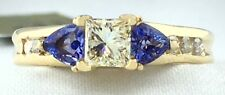 Genuine 0.65 Ct Diamonds & Tanzanite 14k Yellow Gold Ring