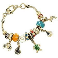 Turtle Charm Bracelet Bead GOLD Crab Dolphin Boat Nautical Beach Theme Jewelry