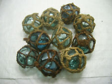 """Vintage Glass Fishing Floats 10 all in natural rope nets 3""""- 3.5"""" Japanese"""