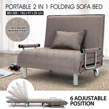 Portable 2 In 1 Folding Sofa Bed Adjustable Headrest Camping Bed Taupe w/Mattres