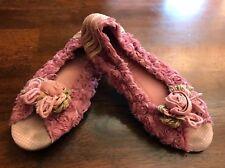 Naartjie Ballet Flat Peep Toe Shoes Pink Roses Flowers Size 4 Birthday Holiday