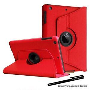 Housse Etui Rouge pour Apple iPad mini 1/2/3 Coque avec Support Rotatif 360°