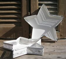 """Metall Tablett """"Stern"""" 2 Größen verfügbar weiß Shabby Weihnachten Advent Deko"""