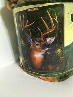 American Heritage Collection Royal Plush Raschel Throw 50 X 60 In. Deer Buck New