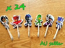 24 X PJ MASK CUPCAKE TOPPERS PICKS PJ MASK PARTY SUPPLIES PJ MASK CAKE TOPPERS