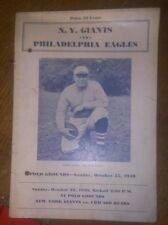 10/15/1939 Philadelphia Eagles vs NY Giants ORIGINAL NFL Prog. Steve Owen cover