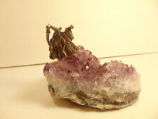 small fantasy pewter wizard mounted on bed of amethyst