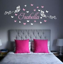 Spotty Butterflies Any Custom Name Wall Sticker Removable Girls Room trails