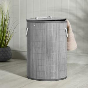 Round Bamboo Laundry Basket With Lid- Grey D35cm x H50cm