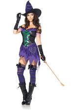 Crafty Cutie Witch Costume Leg Avenue M/L 12-14 Dress Hat Purple Green