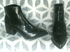 Primadonna Collection Black Patent Faux Leather cow boy style Ankle Boots   UK 4