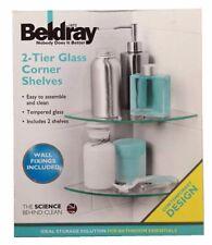 New Beldray Bathroom Bath Shower 2 Tier Glass Corner Shelves Shelf