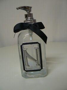 """Ganz N Monogram Soap Dispenser Clear Bottle Gray Letter Black Ribbon 7"""" H"""