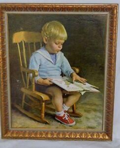 "Vintage Lithograph Print Ingwersen ""Gary"" Boy Reading in a Rocking Chair 23 x 19"
