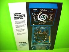 Gottlieb BLACK HOLE Original 1981 NOS Flipper Pinball Machine Flyer Non 3-D Mint