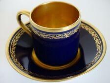 1 TASSE A CAFE FORME LITRON PORCELAINE DE LIMOGES LEMAIRE BLEU DE FOUR lauriers