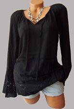 Geniale Tunika Bluse schwarz Gr. 50 Stickerei Hippie Boho 962553 Neu