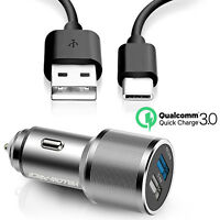 Samsung Galaxy S8 & S8 Plus USB-C Quick Charge 3.0 FAST Rapid Car Charger Type C