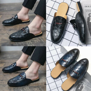 Men's Half Dress Shoes Indoor PU Leather Slippers Casual Lazy Loafers Moccasins