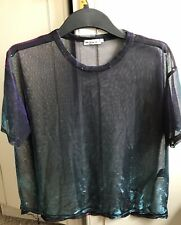 LIGHT BEFORE DARK MESH TOP, (Urb Outfitter) S, Multi, Nylon Mix, Snags, Gd Cond