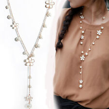Women's Elegant Pearl Flower Sweater Chain Long Pendant Necklace Fashion Jewelry