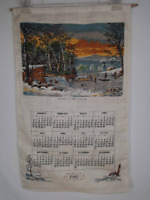 Vintage 1980 Winter in the Country Tea Towel Linen Cloth Decorative Calendar