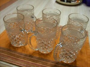 SET OF 6 - VINTAGE LEAD GLASS BEER MUGS - NEVER USED