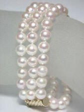 3 Rows Genuine 7-8 mm White Pearl Yellow Gold Plated Clasp Bracelet