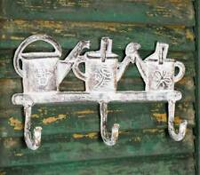 NWT Cast Iron Metal White Antiqued Finish Watering Cans Wall Hook Hanger Holder