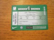 Billete De 05/11/2009: Werder Bremen v Austria Viena Europa Liga [] (leve roto).