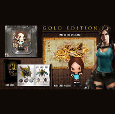 "TOMB RAIDER Lara Croft Gold Edition extras 3"" Toy Figure Art book Map - NO GAME"