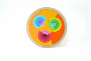 Circle Wooden Rainbow Blocks Creative Puzzles Ages 3 + for Cognitive Development