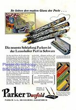 Fountain pen Parker Duofold Germany german ad 1929 advertising filler Dossenheim