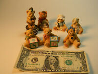 Enesco - Cherished Teddies Lot of 7 - Small Collector Teddy Figurines