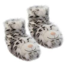 AROMA Home divertimento per i piedi Snow Leopard Pantofole Con Calzini peluche pelliccia pantofola stivaletti