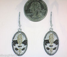 NEW! FLEUR DE LIS RHINESTONE  /NEW ORLEANS EARRINGS-GOLD AND BLACK