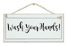 WASH YOUR HANDS. SHABBY CHIC SIGN, ELEGANT, GIFT, BATHROOM